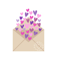envelope with hearts isolated on white background vector image