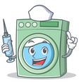nurse washing machine character cartoon vector image