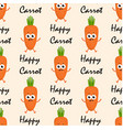 pattern with cartoon carrots vector image