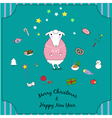 Cartoon christmas sheep with sweater and skates vector image