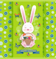 cute easter background with bunny and wicker vector image