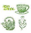 set of decorative ornament tea vector image vector image