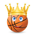 Gold crown on a basketball bal vector image