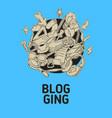 blogging isolated artistic cartoon hand drawn vector image
