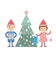 Boy and girl with gifts decorate Christmas tree vector image
