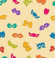 Colorful carnival masks seamless pattern vector image