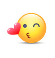 emoticon face throwing a kiss winking smiley with vector image