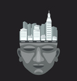 Flat design of city on a mans head vector image
