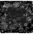 flower doodle on a background of black plank vector image