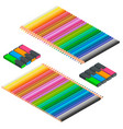 isometric set of colored pencils and markers vector image