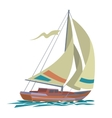 Sea yacht with olive sails and water vector image
