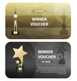 winner vouchers with gold stars and laurel wreath vector image