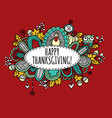 Happy Thanksgiving Doodle Burgundy vector image