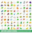 100 sri lanka icons set isometric 3d style vector image