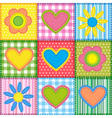 Patchwork with hearts vector image