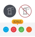 Fire extinguisher icon Flame protection sign vector image