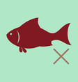flat fish drawing seafood great for menu poster vector image