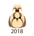 the icon a funny portrait of a dog 2018 year of vector image