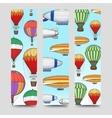 Hot air balloons bookmarks set vector image