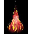 Bonfire with sparks on a black background vector image