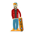 skateboarder hipster man with beard vector image