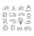 transport doodle icons vector image