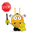 sweet and cute giraffe with sign stop vector image