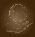 a hand holding a globe vector image