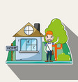 cute man in the house with casual clothes vector image