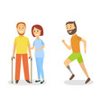 flat disabled people scenes set vector image
