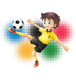 Olympics theme with soccer player vector image