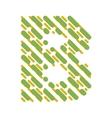 Striped latin alphabet letter B Hatching font vector image