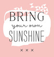 sign bring your own sunshine vector image