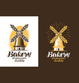 bakery bread logo or label farm agriculture vector image