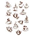 Fragrant coffee in retro style icon set vector image vector image