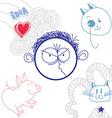 hand drawn cartoon angry boy Education theme vector image