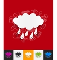 cloud paper sticker with hand drawn elements vector image