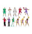 football players coaches cheerleading girls vector image
