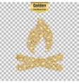 Gold glitter icon of bonfire isolated on vector image