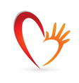 Heart and hand logo vector image
