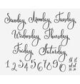 Lettering week days set vector image