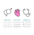 Set of linear icons gender human internal vector image