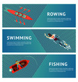 water sport horizontal banners set people vector image