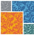 Lizards - seamless pattern set vector image vector image