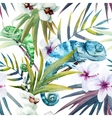 Watercolor pattern reptiles chameleon vector image