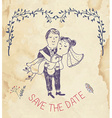 Save the date wedding invitation - retro style vector image vector image