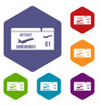 airline boarding pass icons set vector image