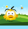 Chicken on farm field landscape with funky bird vector image