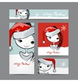Christmas cards with santa girl sketch for your vector image