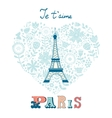 Concept love card with Eiffel tower and floral vector image